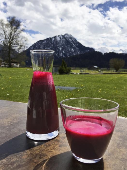 Detox Rote Bete Saft vor Bergpanorama