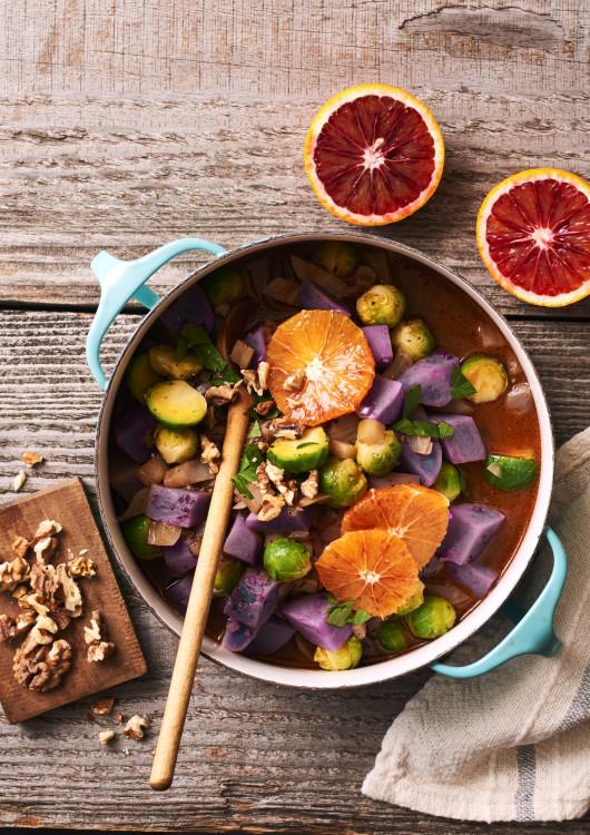 Purple Potato Curry with Oranges