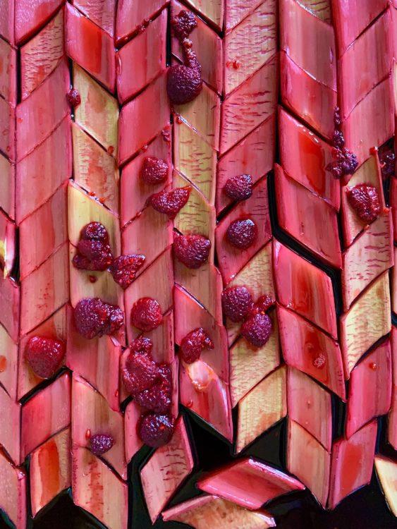 rhubarb-diamonds-poached-raspberries-baking-tray